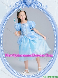Halloween Infant Square Zipper Up Light Blue Little Girl Pageant Dress in Tea Length