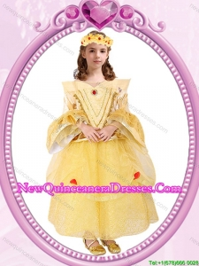 Halloween Long Sleeves Zipper Up Little Girl Pageant Dress in Organza and Sequins