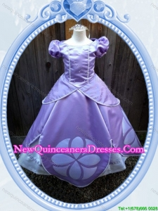 Halloween Puffy Scoop Lavender Long Little Girl Pageant Dress with Beading