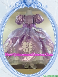 Puffy Scoop Organza Short Sleeves Long Halloween Little Girl Pageant Dress in Lavender