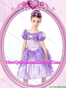 Puffy V-neck Beaded Lavender Halloween Little Girl Pageant Dress with Short Sleeves