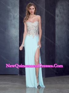 2016 Romantic Sweetheart Light Blue Dama Dress with High Slit and Appliques