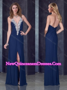 Cheap Navy Blue Halter Top Damas Dress with High Slit and Appliques