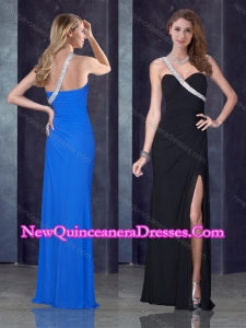 New Style One Shoulder Black Dama Dress with High Slit and Beading