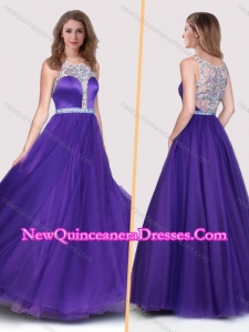 New Style See Through Scoop Empire Purple Dama Dress with Beading