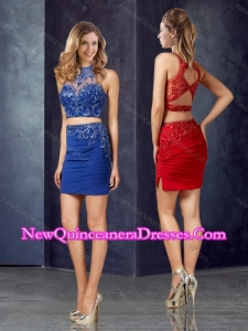 New Style Two Piece Column Applique Dama Dress with High Neck
