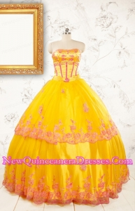 2015 Gold Strapless Beautiful Quinceanera Dresses with Appliques