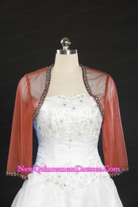 Cheap Red Long Sleeves Beading Wraps in 2015
