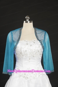 2015 Simple Blue Long Sleeves Wraps with Beading