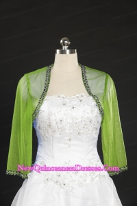 2015 Spring Green Beading Wraps with Long Sleeves