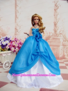 Elegant Ball Gown Blue Dress Made To Fit the Barbie Doll