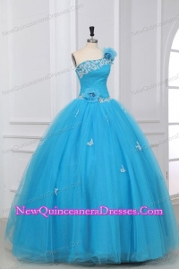 Appliques and Hand Made Flowers One Shoulder Quinceanera Dress in Aqua Blue