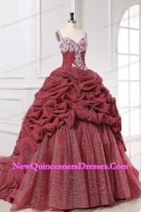 Spaghetti Straps Appliques and Pick-ups Quinceanera Dress in Burgundy