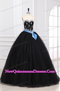 Sweetheart Appliques Decorate Organza Tulle Quinceanera Dress in Black