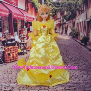 So Beautiful Yellow Appliques and Beading Made to Fit the Barbie Doll