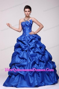 Strapless Beading and Pick-ups Taffeta Quinceanera Dress in Blue
