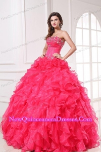 Strapless Organza Coral Red Quinceanera Dress with Beading and Ruffles
