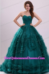 Sweetheart Teal Tulle Beading and Ruffles Quinceanera Dress