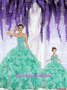 Apple Green Sweetheart Organza Beading and Ruffles Princesita Dress