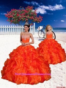 Appliques and Beading Sweetheart Princesita Dress in Orange