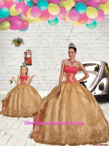 Beading Strapless Princesita Dress in Gold with Embroidery