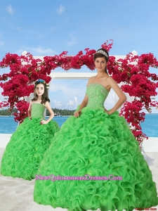 Green Beaded Decorate Organza Princesita Dress with Ruffels