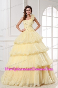 Light Yellow One Shoulder Beading and Pleats A-line Quinceanera Dress