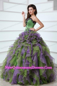 Multi-color Strapless Appliques and Ruffles Quinceanera Dress with Organza