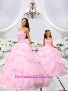 Popular Beading and Ruching Baby Pink Princesita Dress for 2015