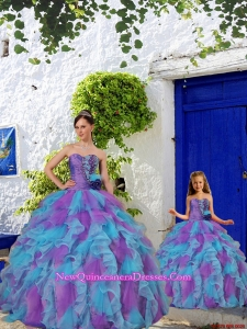 Purple and Aqua Blue Ruffles Organza Princesita Dress with Beading