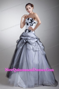 White and Black Strapless Appliques and Flowers Quinceanera Dress