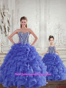 Wonderful Blue Princesita Dress with Beading and Ruffles
