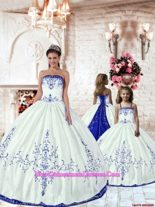 2015 LuxuriousWhite Princesita Dress with Blue Embroidery
