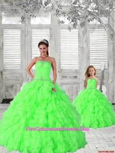Popular Beading and Ruching Princesita Dress in Green for 2015