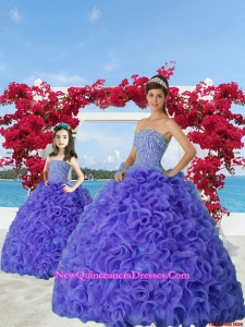 2015 Most Popular Beading and Ruffles Purple Princesita Dress