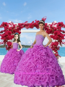 2015 New Style Fuchsia Princesita Dress with Beading and Ruffles