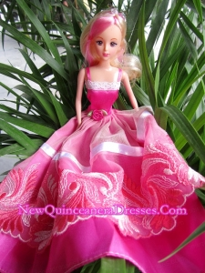 Beauty Party Dress To Barbie Doll With Hand Made Flowers and Embroidery