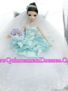 Beutiful Wedding Dress To Noble Barbie With Lace and Ruffles