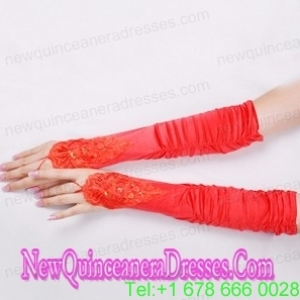 Classical Satin Fingerless Elbow Length Evening Gloves With Appliques And Ruching