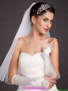 Elegant Satin Fingerless Elbow Length Appliques Bridal Gloves