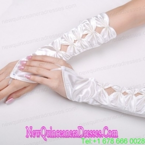 Unique Satin Fingerless Elbow Length Bridal Gloves With Butterfly-Shaped Flowers