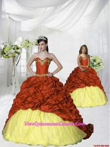 Customize Appliques and Pick-ups Rust Red and Gold Princesita Dress with Brush Train