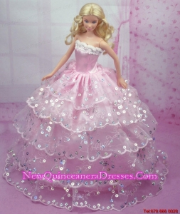 Luxurious Pink Gown With Sequins and Embroidery Made to Fit the Barbie Doll