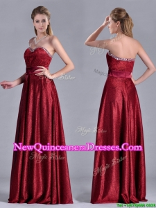 Classical Empire Sweetheart Wine Red Dama Dress with Beaded Top