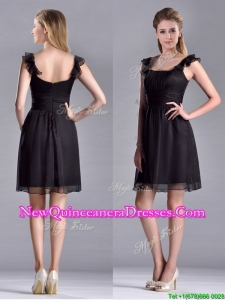 Simple Empire Square Chiffon Black Dama Dress with Cap Sleeves