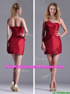 Best Selling Column Wine Red Dama Dress with Asymmetrical Neckline