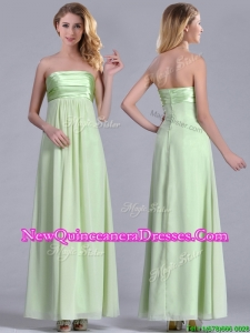Latest Strapless Yellow Green Chiffon Dama Dress in Ankle Length