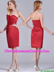 Low Price Red Column Satin Knee Length Dama Dress with Ruffles