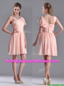 Simple Empire Ruched Peach Dama Dress with Asymmetrical Neckline