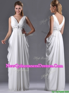 Elegant Empire V Neck Chiffon White Dama Dress for Graduation